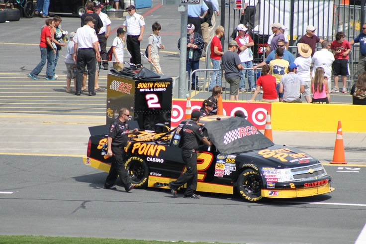 Brendan Gaughan truck being push out into line for race qualifying.