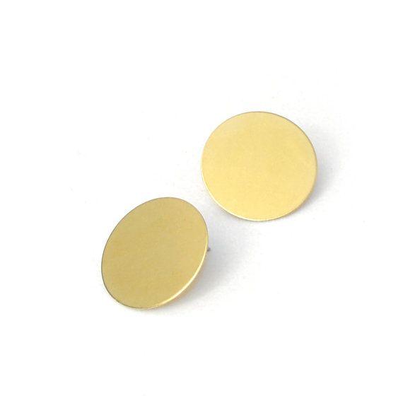 Minimalistische Ohrringe aus Messing  Geometrische von CombaDesigns