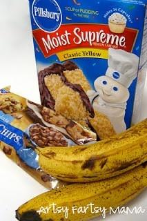 3 Ingredient Banana Bread (Yellow cake mix, bananas, and chocolate chips)
