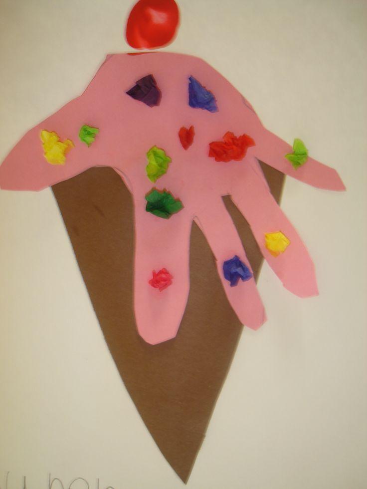 Ice cream craft: Footprints Art, Cream Melted, Handprint Ice Cream Cones, Handprint Crafts, Kiddos Ideas, Ice Cream Activities For Kids, Preschool Crafts, Art Projects, Icecream
