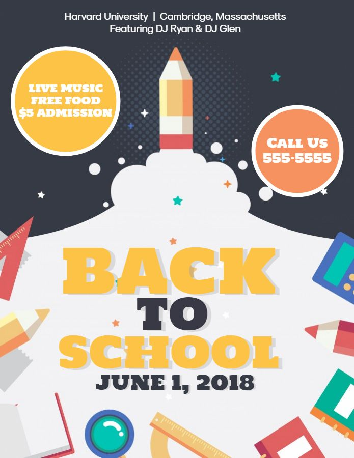 Creative Back To School Event Flyer Template Back To School