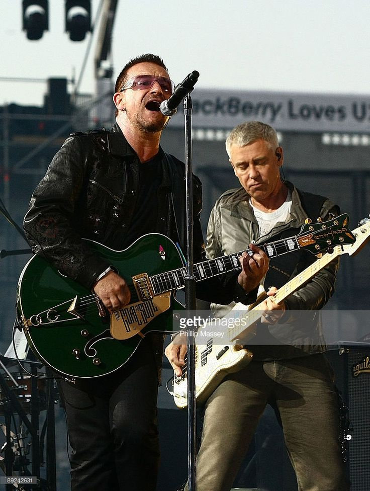 Bono and Adam Clayton from U2 perform at Croke Park on July 24, 2009 in Dublin, Ireland.