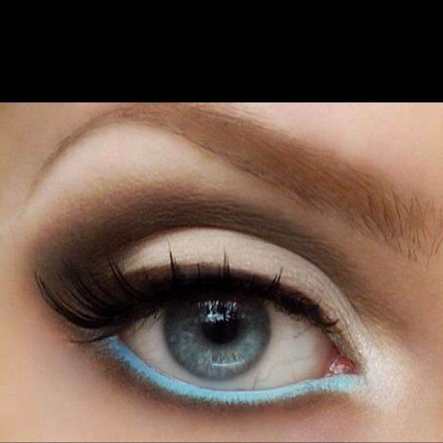 Bright colored waterline with neutral shadows. Spring trend.: Neutral Shadows, Eye Makeup, Neutral Eye, Brown Eye, Spring Trends, Blue Eye, Cool Ideas, Colors Waterline, Bright Colors