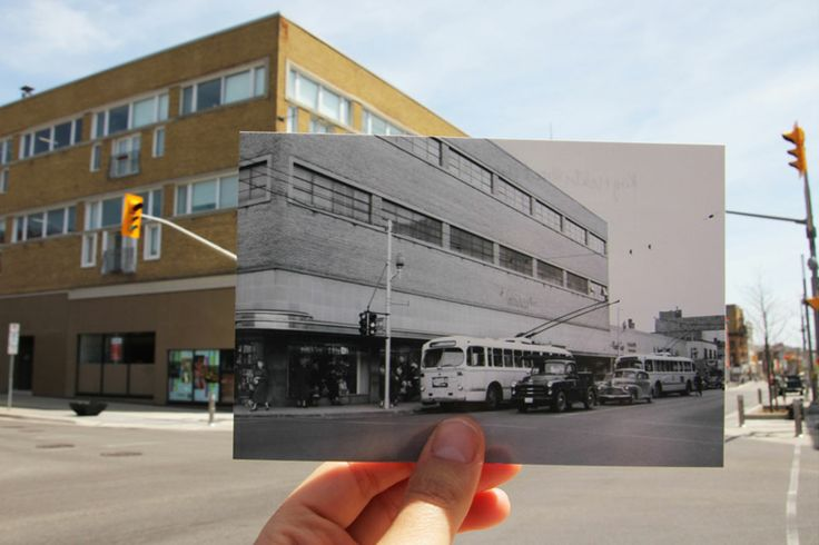 According to the University of Waterloo, the T. Eaton Co. bought the corner lot in 1929 but didn't build a department store until 1950.Trolley buses replaced streetcars in Kitchener and Waterloo and started travelling on King Street between the two cities on January 1, 1947. They continued until March 26, 1973, when they were replaced with non-electrified buses.