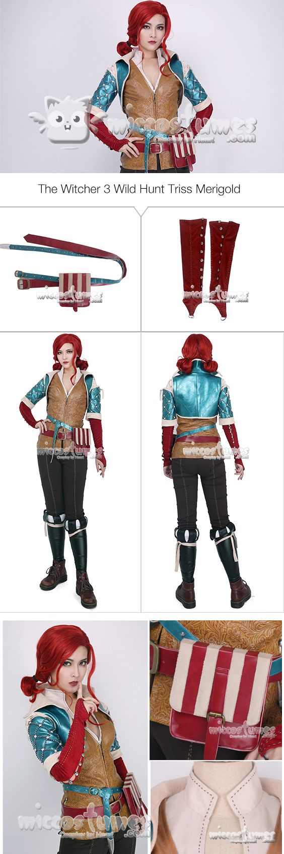 More details of the Witcher 3 Wild Hunt Triss Merigold Cosplay Costume with belts set sells at Miccostumes.com #cosplay #miccostumes #TheWitcher3 #WildHunt #Triss #TrissMerigold #CosplayCostume #thewitcher3cosplay #trisscosplay
