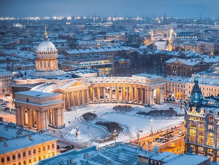 Stunnning bird's eye view of St Peter's in the snow.