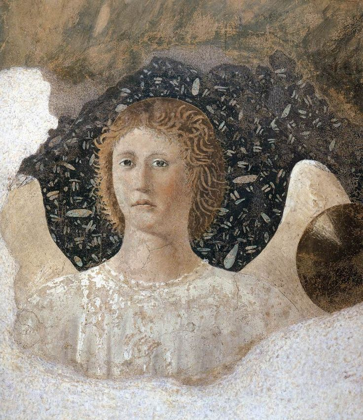 Piero della Francesca (1420–1492) - Angel (between 1452 and 1466). fresco Current location: Basilica di San Francesco, Arezzo