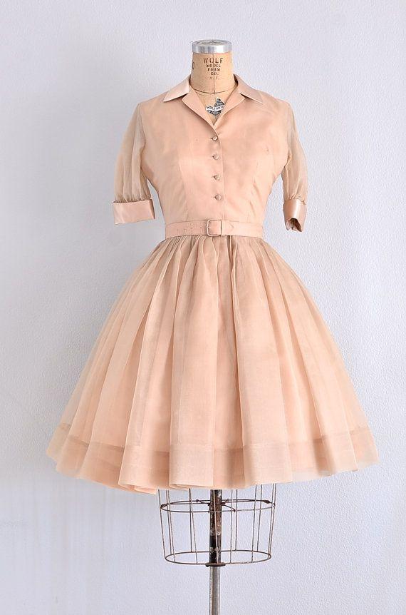 vintage 1950s silk and chiffon shirtwaist dress