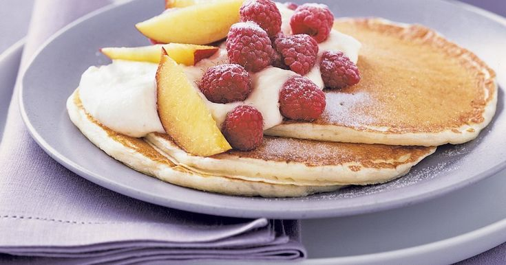 Start your weekend in style with these tasty low-fat pancakes.