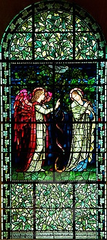 Winchester Cathedral ~ Pre-Raphaelite stained glass window of the Annunciation (designed by Sir Edward Burne-Jones)