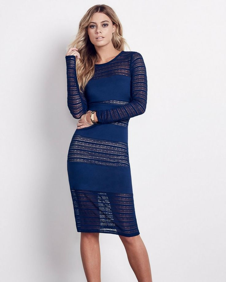The Ali & Jay navy dress in navy is the perfect holiday dress for the party season coming in. It is classy with a sexy sheer lace peek-a-boo.