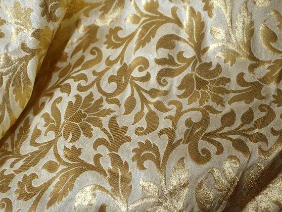 Brocade Fabric by the yard Beige Gold Banarasi Fabric, Wedding Dress Fabric, Benarasi Silk Indian Blended Silk, costume fabric