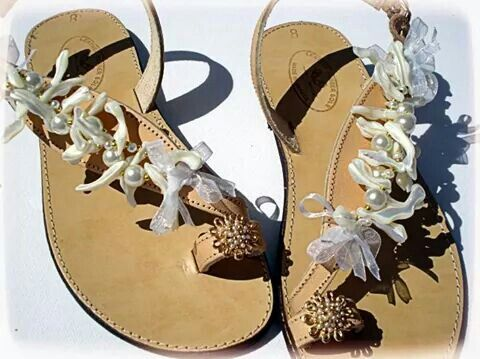 Leather decorated wedding sandals