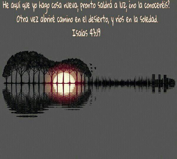 He aquí que yo hago cosa nueva; pronto saldrá a la luz; ¿no la conoceréis?. Otra vez abriré camino en el desierto, y ríos en la soledad. Isaías 43.19