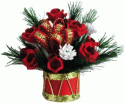 Red rose/white flowers in drum