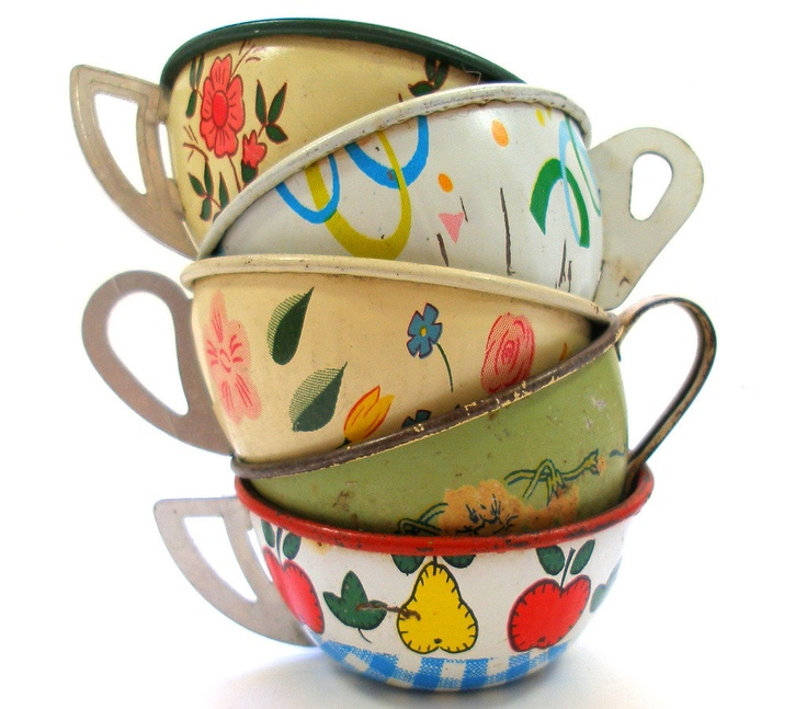 Toy Tea cups, Set of 5 vintage tin with flowers