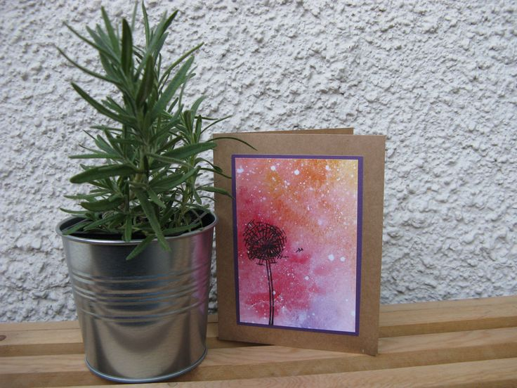 Make a wish - water-colour card  $4.75CAN Art. Ink. Watercolor. Watercolour. Cards. Greeting cards. Watercolor art. Galaxy painting. Dandelion. Stars. Starstruck. Painting.