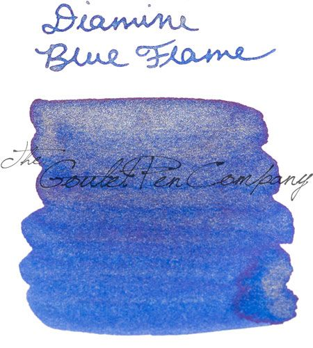 A 2ml sample of Diamine Blue Flame shimmering fountain pen ink, in a labeled plastic vial. Blue with gold shimmer.