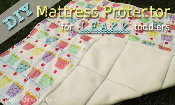 DIY Mattress Protector for Leaky Toddlers. Wish I'd had known this way back when.  I think doing a modified version of this might work better, sewing the tablecloth between a fitted sheet & some fleece so it will stay in place better.