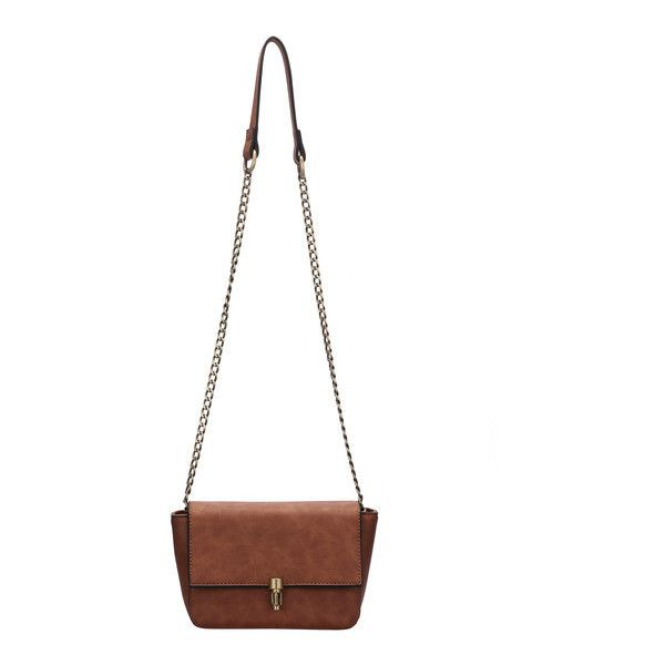 SheIn(sheinside) Brown Push Lock Chain Bag ($16) ❤ liked on Polyvore featuring bags, handbags, camel, brown purse, chain handbags, camel handbag, white handbags and white purse