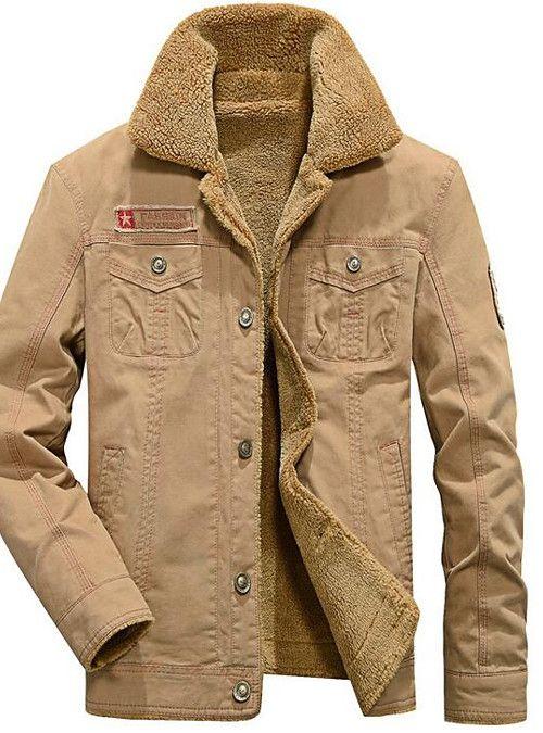 d9c35917 Men's Daily Winter Regular Jacket, Solid Colored Shirt Collar Long Sleeve  Polyester Green / Black / Khaki XL / XXL / XXXL 2019 - US $37.94