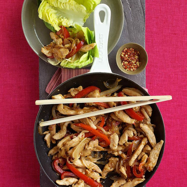 This colorful stir-fry of chicken, bell peppers, and onions is easy to make. Serve it on top of a crisp lettuce leaf for a pretty presentation.