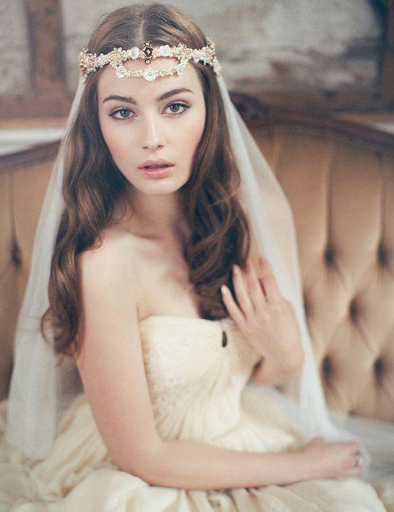 Bridal Veil Wedding Veil Headpiece  Boho Ivory by JannieBaltzer