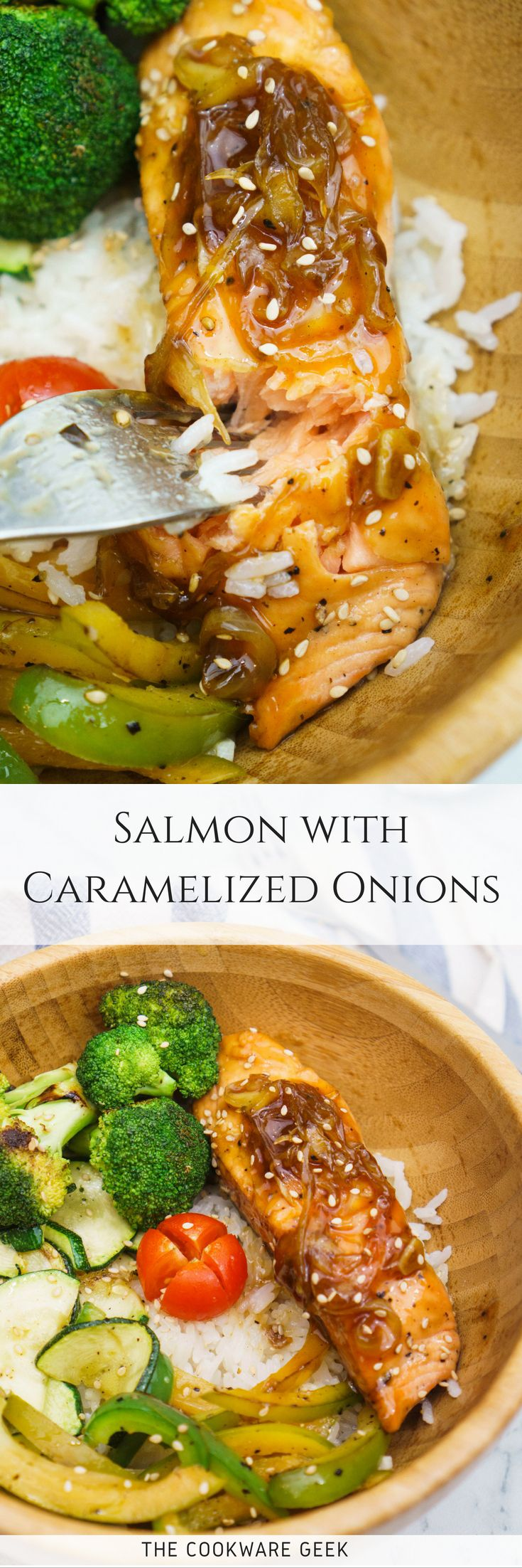 Salmon with Oyster Sauce and Caramelized Onions | The Cookware Geek