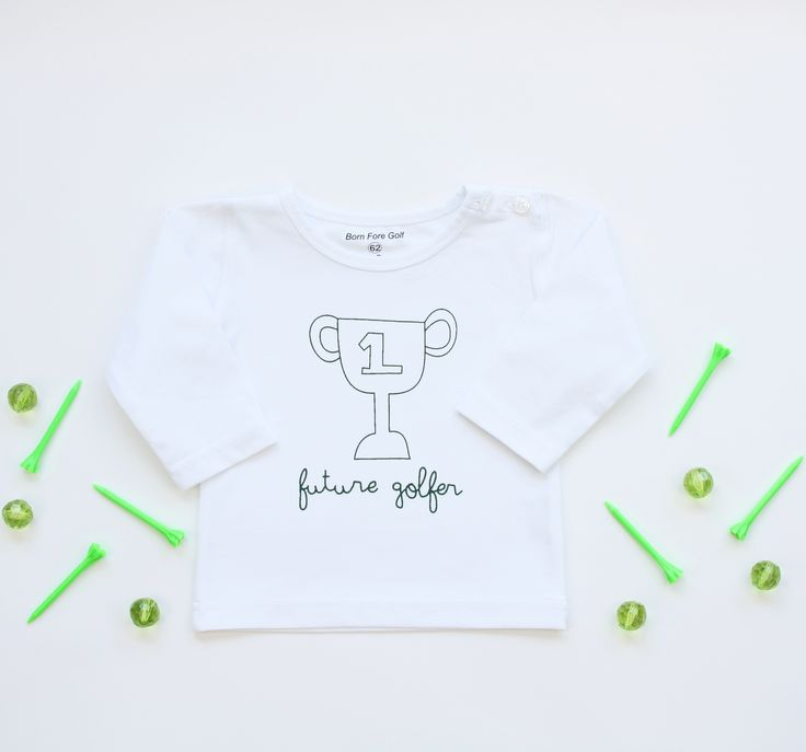 Newborn baby t-shirt ''Future Golfer''. The perfect baby shower gift for golf loving parents! As we say; Big golfers come in small packages ;-)