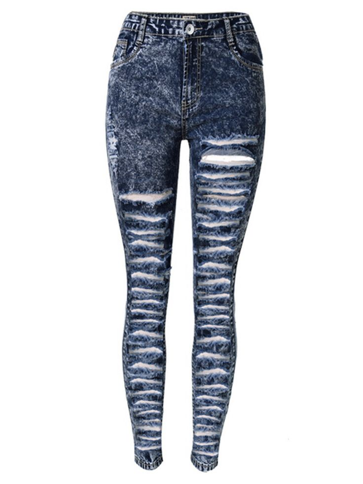 Dark Blue High Waist Extreme Distressing Ripped Skinny Jeans