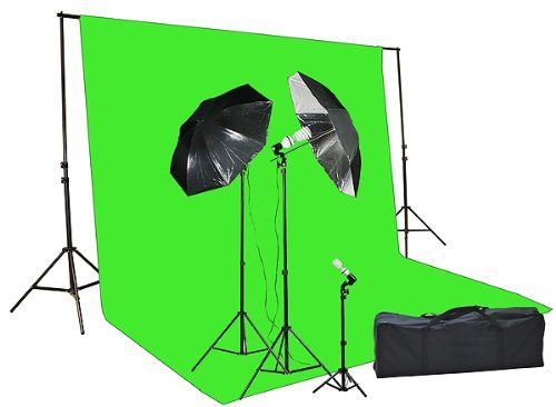 Fancier Chromakey Green Screen Kit 1000 Watt Video Lighting Kit Photo Studio Kit Umbrella Softbox Kit | Studio lighting