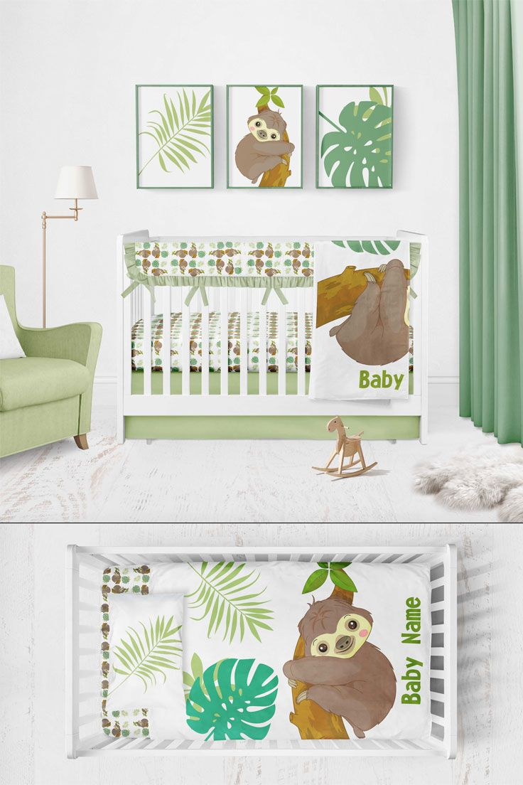 Bedding Set Neutral In Crib For Newborn Baby Sheets With Sloths