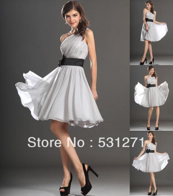 Free Shipping Knee Length Bridesmaid Dresses One Shoulder Bridesmaid Dress 201212276518