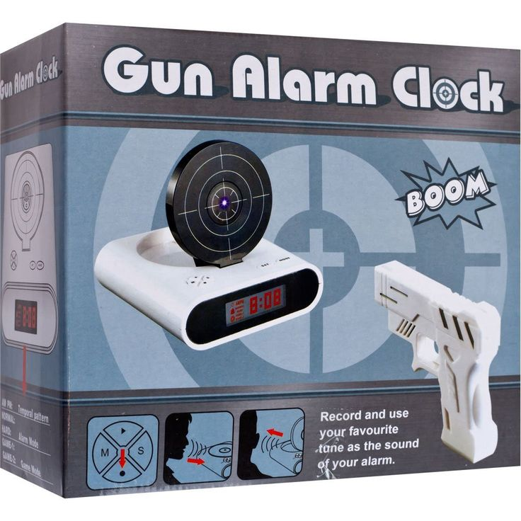 Shooting Laser Toy Gun Alarm Clock Target Panel Shooting LCD Screen Toy Games Gifts White