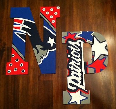 New England Patriots Custom Hand Painted Door Hanger/Letter/Wall Art
