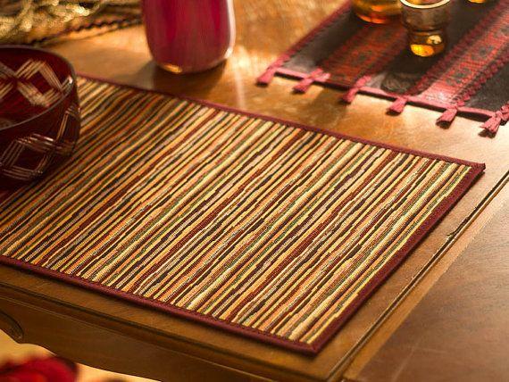 Gobelin Table Topper - Motley Ernte Land gestreiften Mat Tabelle Teppich Läufer Tischsets mit ethnischen primitiven Stil, Malbücher Textil Dekor