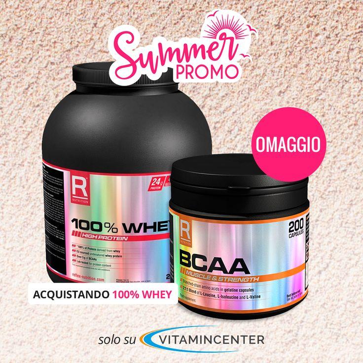 SUMMER PROMO #REFLEX: >> #BCAA in #OMAGGIO << Acquistando una 100% WHEY da 2 Kg o una 3D PROTEIN da 1.8 Kg ( tutti i gusti).  Affrettati, trovi l'offerta su #VitaminCenter!