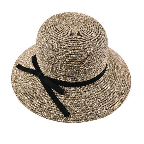 LYZA Women Summer Large Brim Sunscreen Straw Hat Elegant Bow Tie Breathable Beach Caps at Banggood