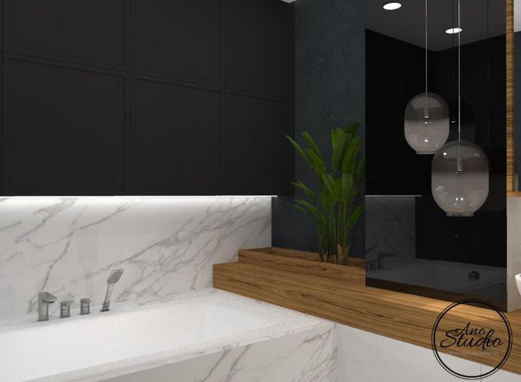 Łazienka - marmur czerń i drewno