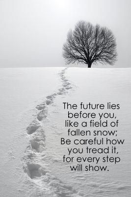 The future lies before you, like a field of fallen snow-- well