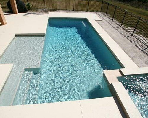 Rectangular pool, tanning ledge, hot tub. Simple