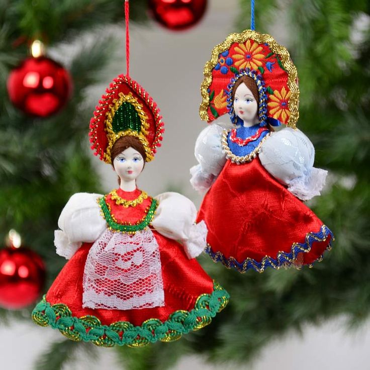 Beautiful Russian Doll Ornament Set
