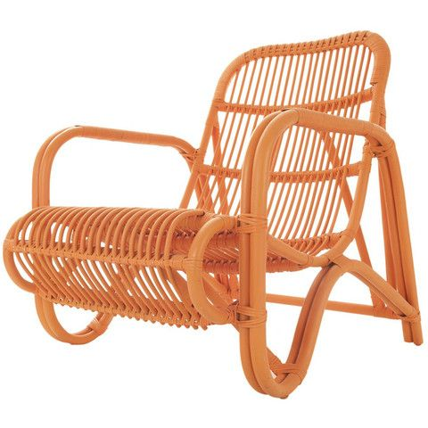 Orange Rattan Chair. Made by a small company in Indonesia, this bold, orange rattan chair is made by talented artisans. Perfect indoors and outdoors, and is sure to add a splash of colour to any home. You were looking for a tropical chair? You've got it!
