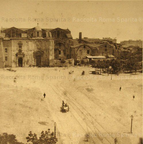 Piazza delle Terme Terms or before it became Piazza dell 'Esedra  Year:1870  In the background, the Baths of Diocletian (San Maria degli Angeli)  Missing is the fountain of Najadi Mario Rutelli 1901.  The 1st fountain (without Najadi) was inaugurated Sept 10, 1870 by Pope Pius IX