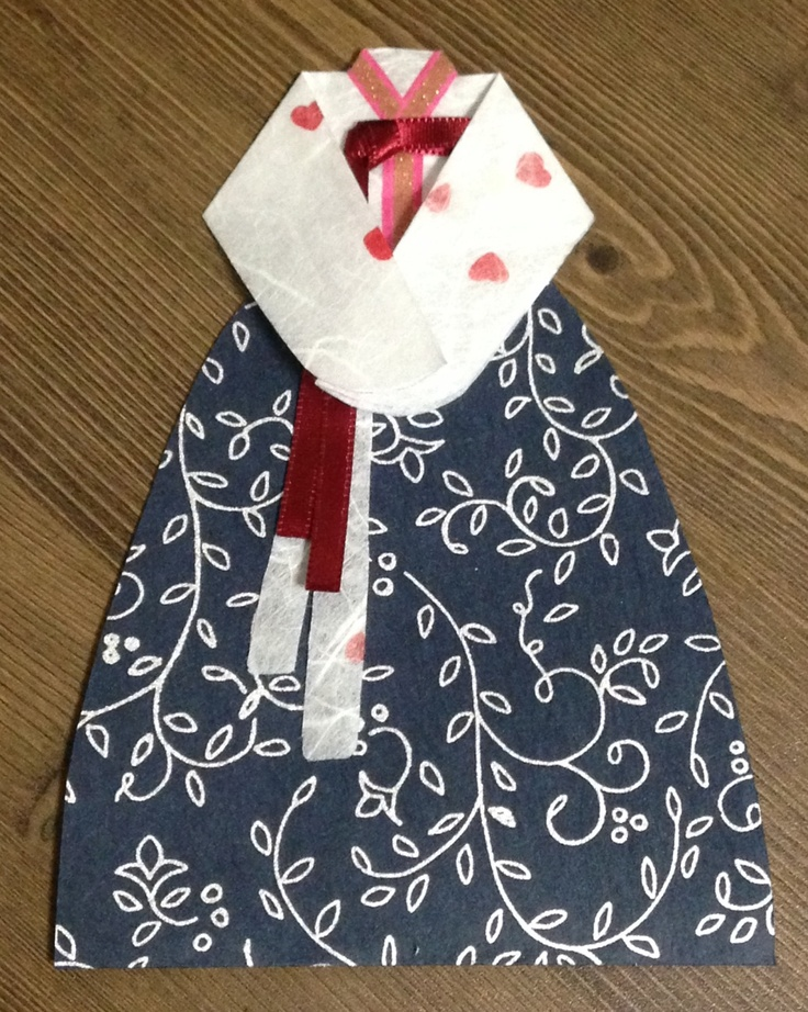 Hanbok card(Korean traditional dress) white with heart& navy