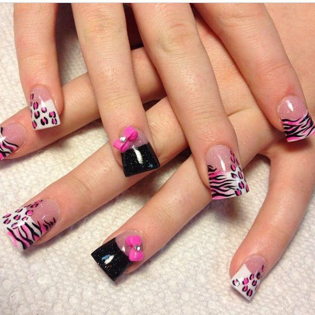 Animal Print Nails with bows