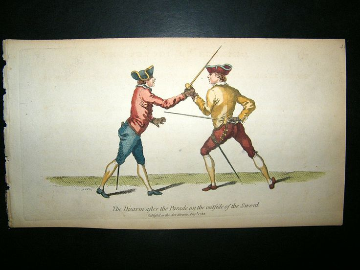 Angelo Sword Fencing 1787 Hand Col Print. Disarm after The Parade | Albion Prints