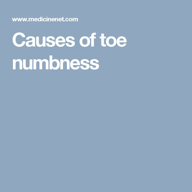 Causes of toe numbness