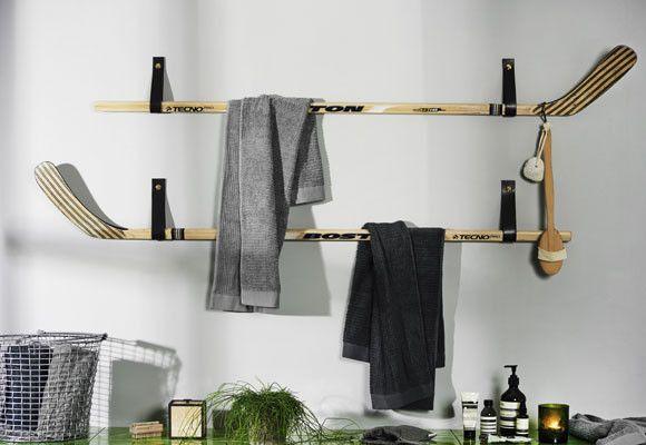 Fabrica un toallero con palos de hockey