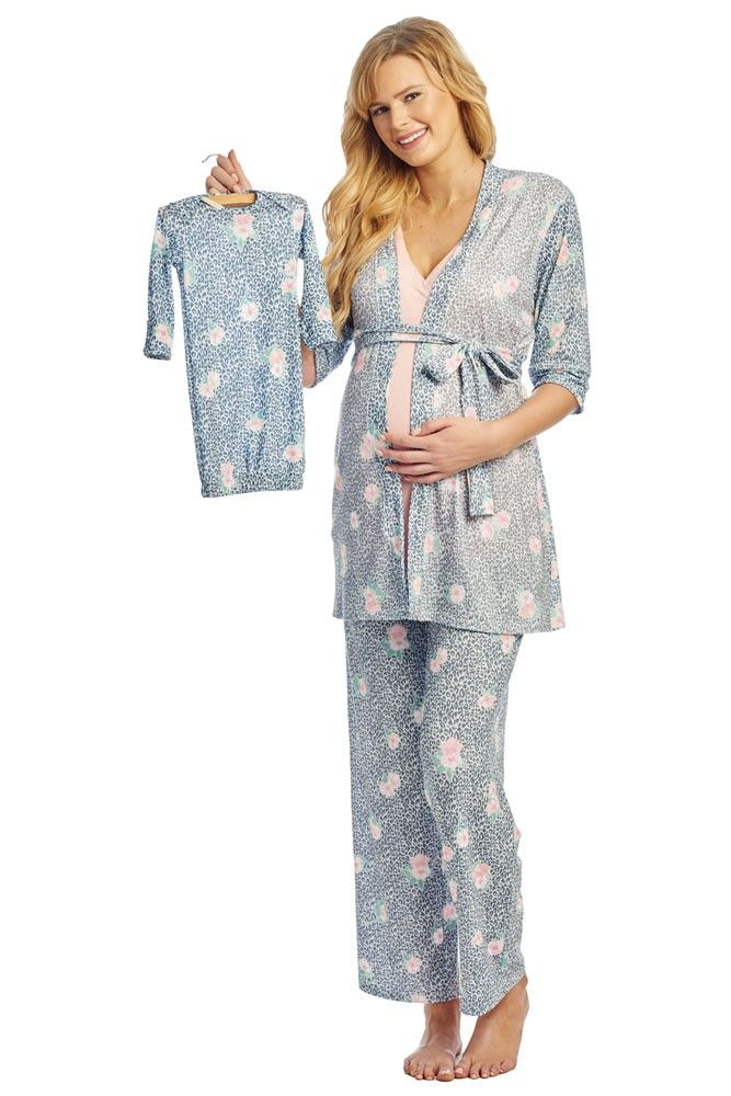 bbcf456b3eb51 Analise 5-Piece Mom and Baby Maternity and Nursing PJ Set in Jungle Floral